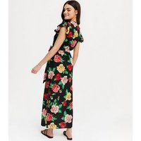 Mela Black Floral Split Hem Wrap Maxi Dress New Look