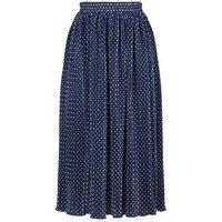Mela London Navy Spot Pleated Midi Skirt New Look