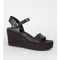Black Faux Croc 2 Part Espadrille Wedges New Look