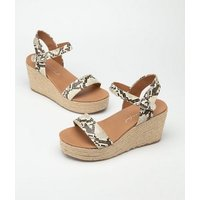 Stone Faux Snake 2 Part Espadrille Wedges New Look