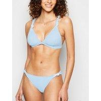 Pale Blue Knot Triangle Bikini Top New Look