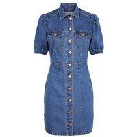 Blue Puff Sleeve Denim Dress New Look