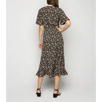 Black Floral Ruffle Trim Wrap Midi Dress New Look