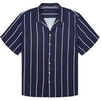 Plus Size Navy Stripe Short Sleeve Shirt New Look