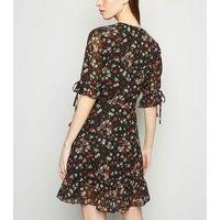 Black Daisy Print Frill Sleeve Mini Wrap Dress New Look