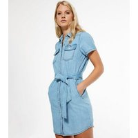 Pale Blue Button Up Denim Mini Dress New Look