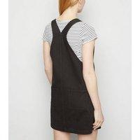 Black Denim Pinafore Dress New Look