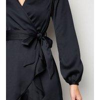 Navy Satin Puff Sleeve Ruffle Wrap Dress New Look