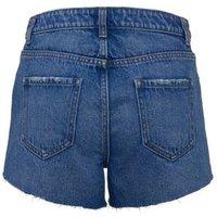 Bright Blue Frayed Denim Shorts New Look