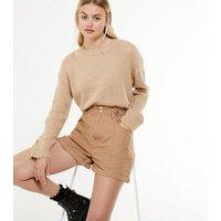 Camel High Waist Denim Shorts New Look
