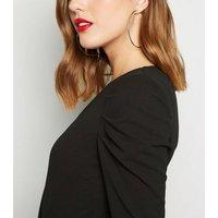 Black Long Puff Sleeve Wrap Bodysuit New Look