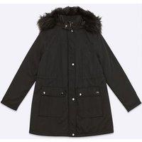 Maternity Black Faux Fur Hooded Parka Coat New Look