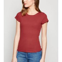 Dark Red Frill Trim Cap Sleeve T-Shirt New Look