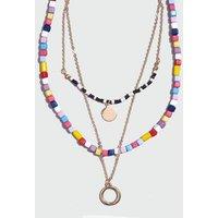 Multicoloured Rainbow Bead Layered Necklace New Look