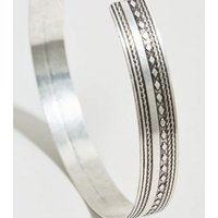 Silver Embossed Arm Cuff New Look