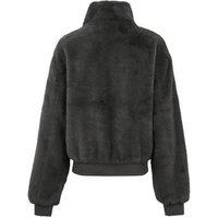 Girls Dark Grey Faux Fur Bomber Jacket New Look