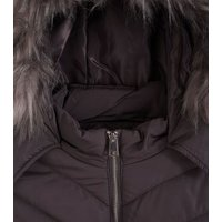 Girls Dark Grey Faux Fur Trim Fitted Puffer Jacket New Look