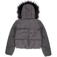 Girls Black Faux Fur Hooded Puffer Jacket New Look