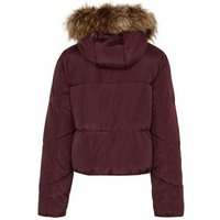 Girls Burgundy Faux Fur Hooded Puffer Jacket New Look