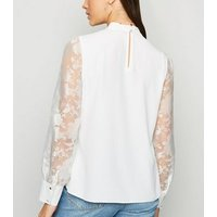 White High Neck Puff Organza Sleeve Blouse New Look