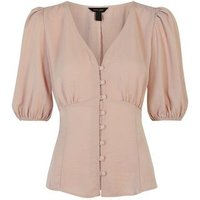 Pale Pink V Neck Puff Sleeve Tea Blouse New Look