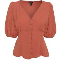Mid Pink V Neck Puff Sleeve Tea Blouse New Look