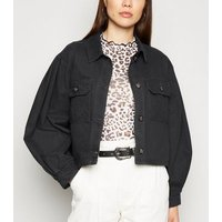 Black Cropped Lightweight Jacket New Look
