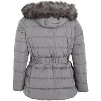 Curves Dark Grey Belted Faux Fur Puffer Jacket New Look