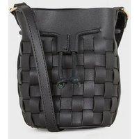 Black Woven Leather-Look Mini Bucket Shoulder Bag New Look