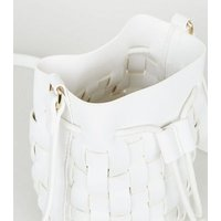 White Woven Leather-Look Mini Bucket Shoulder Bag New Look