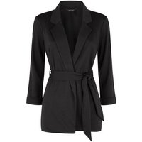 Black Belted Oversized Jersey Blazer New Look