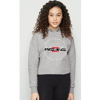 Girls Grey New York Circle Logo Hoodie New Look