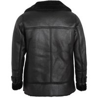 Curves Black Leather-Look Faux Fur Lined Aviator Jacket New Look