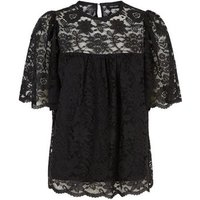 Black Lace Flutter Sleeve Top New Look