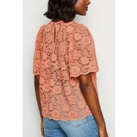 Rust Lace Flutter Sleeve Top New Look