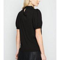 Black Organza Collar Puff Sleeve Top New Look