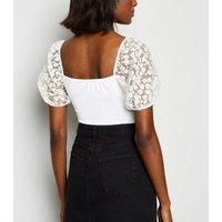 White Daisy Organza Puff Sleeve T-Shirt New Look