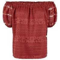 Dark Red Lace Puff Sleeve Bardot Top New Look