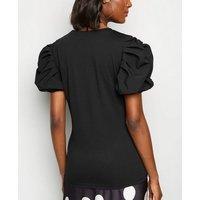 Black Poplin Ruched Sleeve Crew Neck Top New Look