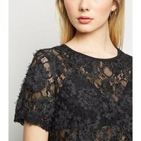 Black 3D Lace Short Sleeve Top New Look
