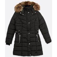 Petite Black Faux Fur Hood Tab Waist Puffer Jacket New Look