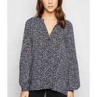 Black Ditsy Floral Grandad Collar Shirt New Look