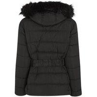 Petite Black Faux Fur Belted Puffer Jacket New Look