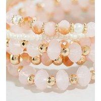 6 Pack Pink Rose Quartz Stretch Bracelets New Look