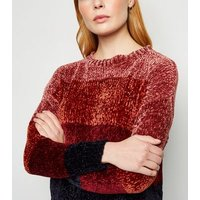 Cameo Rose Brown Chenille Colour Block Jumper New Look