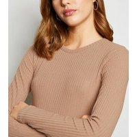Camel Ribbed Crop Top and Trouser Set New Look
