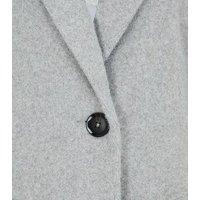 Petite Pale Grey Revere Collar Long Coat New Look