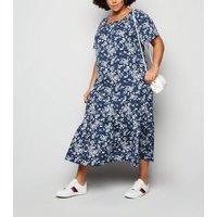 Blue Vanilla Curves Blue Floral and Spot Midi Dress New Look
