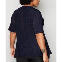 Blue Vanilla Curves Navy Asymmetric Hem Top New Look