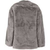 Petite Dark Grey Faux Fur Coat New Look